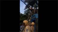 Thanh niên ngáo đá leo dây điện tại Cộng Hòa